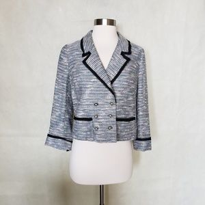 ANTHROPOLOGIE coquille rainbow tweed blazer
